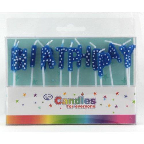 Happy Birthday Blue Polka Dot Candles