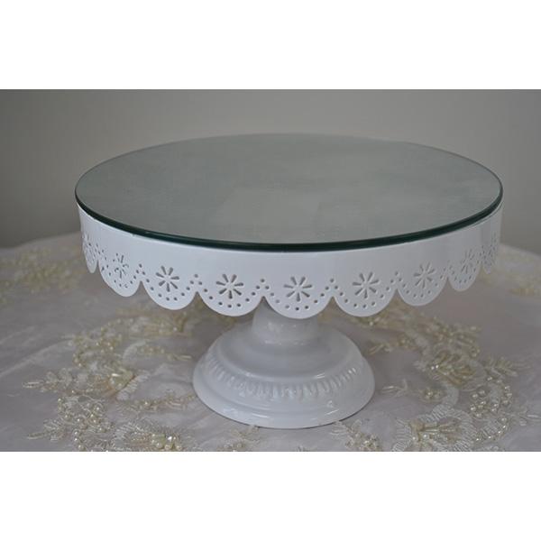White Mirror Top Pedestal Cake Stand Hire Auckland
